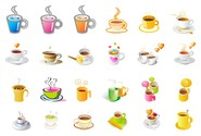 steaming coffee cup set