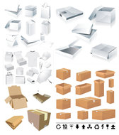 Boxes And Cartons Templates - Vector Packing Boxes Bags Milk Cartons