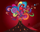 Volcanic eruptions, the trend of color out of Vector materia