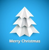Christmas Tree of White Paper on Blue Background