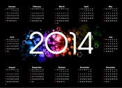 Colorful 2014 Calendar Design on Dark Background