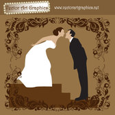 Bride and Groom Wedding Vector Art Graphic