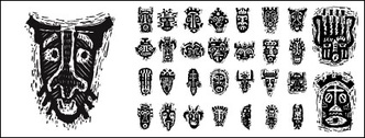 African tribal masks pictorial material