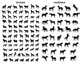 A Variety Of Horse And Dog Silhouettes Vector Graphic Movem
