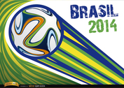 Brazil 2014 ball thrown with stripes