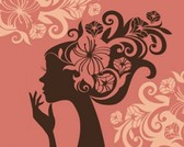 Voorraad illustraties Girl-silhouet-vector