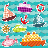 Set of vector colorful sea transport stickers