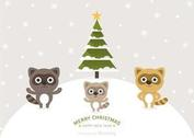Free Cartoon Raccoons Christmas