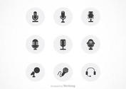 Free Black Microphones Vector Icon Set
