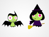 Cute Halloween Characters: Bat & Witch Vectors (Free)