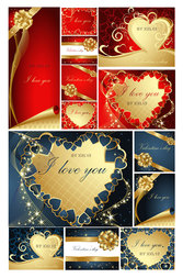 Romantic Valentine's Day Greeting Cards Vector Material Heart Love Romance