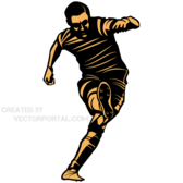 Vector Image of Soccer Player Kicking Position