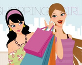 Fashion Shopping filles Vector Art