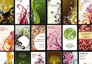 Business cards with floral background vector set