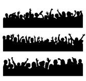 People Silhouettes Vector Graphic Cheering