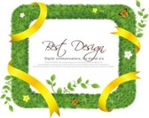 Realistic Grass Frame with Yellow Ribbon .Vector