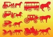 Horse Carriages Silhouettes