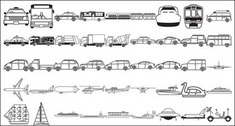 Buses, taxis, mixer, ships, space shuttles, excavators