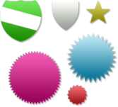 LOTS OF BADGES, DIFFERENT COLOURS PSD