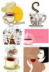 Vector Coffee Icon And Background Material