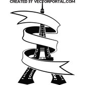 EIFFEL TOWER WITH RIBBON VECTOR.eps