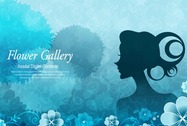 The background and the girls character exquisite pattern vector picture