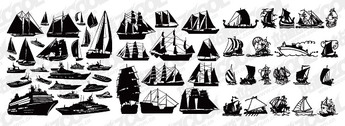 A Variety Of Sailing Boats Silhouette Vector Vector Ships Cruise Ships