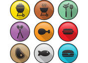 Flat Camp Food Vector Icons