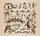Floral Design Decorative Elements Vector Set