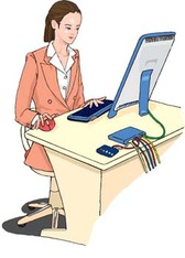 Girls and computer vector 43
