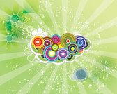 Green Sunbeam Swirly Retro Grunge Background Art Circles Colorful