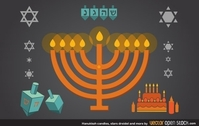 Hanukkah candles, stars, dreidel and more