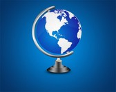 Blue World Map Globe on Metal Stand PSD