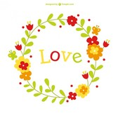 Floral vector love card template