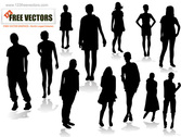 Various People Poses Vector Silhouettes Set