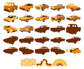 Vector Graphic Elements Of Classic Cars