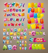 Lovely Three-Dimensional Vector Alphabet Material
