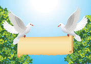 Cartoon dove of peace with rolls of paper