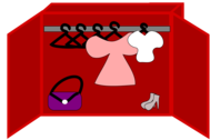 clothes, shoes and a bag in a closet