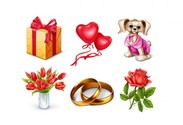 6 Gift Puppy Heart Rings Flower Icons