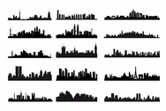 City Skyline Landscape Silhouette Vector Set