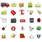 Supermarkets Icons Vector Vector Material Trucks Shopping Basket