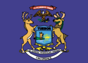 Michigan state flag and coat of arms