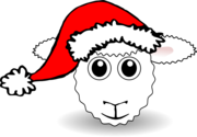 Funny Sheep Face White Cartoon with Santa Claus hat