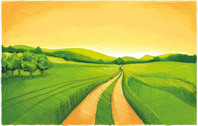 Hand painted green fields