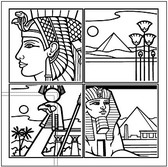 Egypt 4 Grid Line Drawing Vector Map