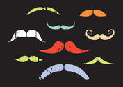 Vector Set of Colorful Mustaches