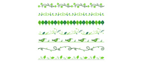 7 Green Leaves Dividers Borders Vectors