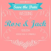 Pink retro vector wedding invitation