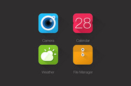 4 Colorful Long Shadow App Icons Set